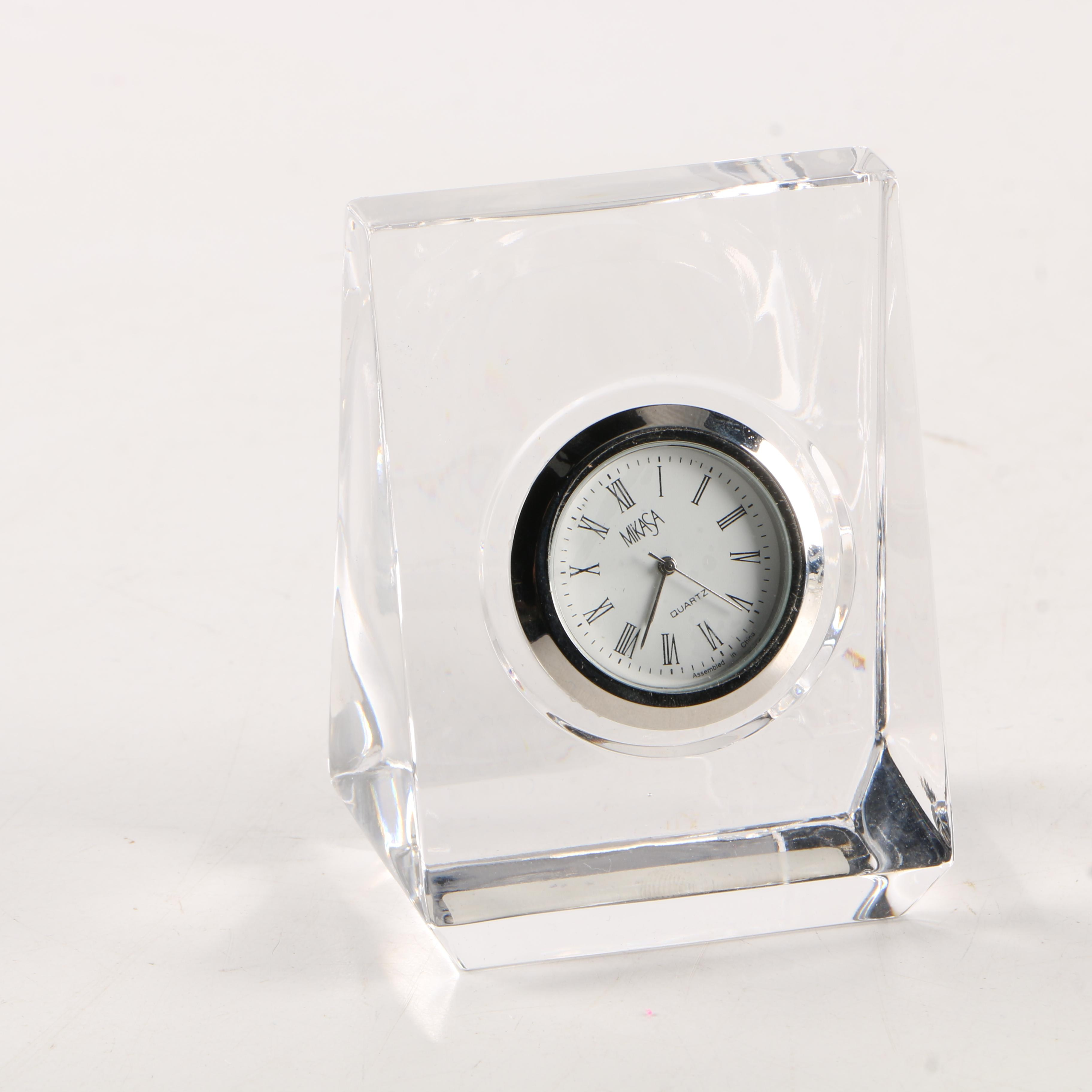"Mikasa ""Solitaire"" Crystal Shelf Clock"