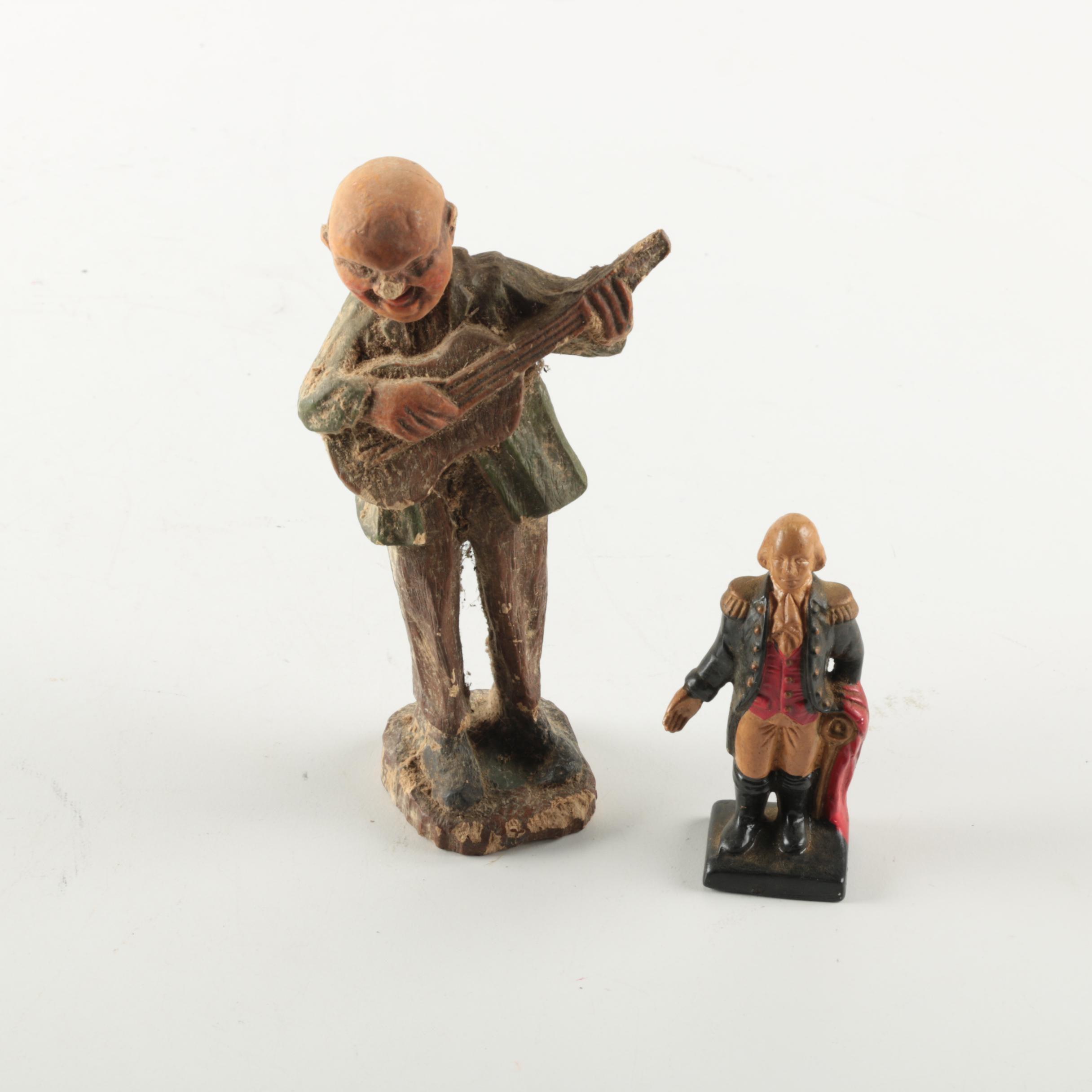 Ceramic Figurines of George Washington and Guitarist