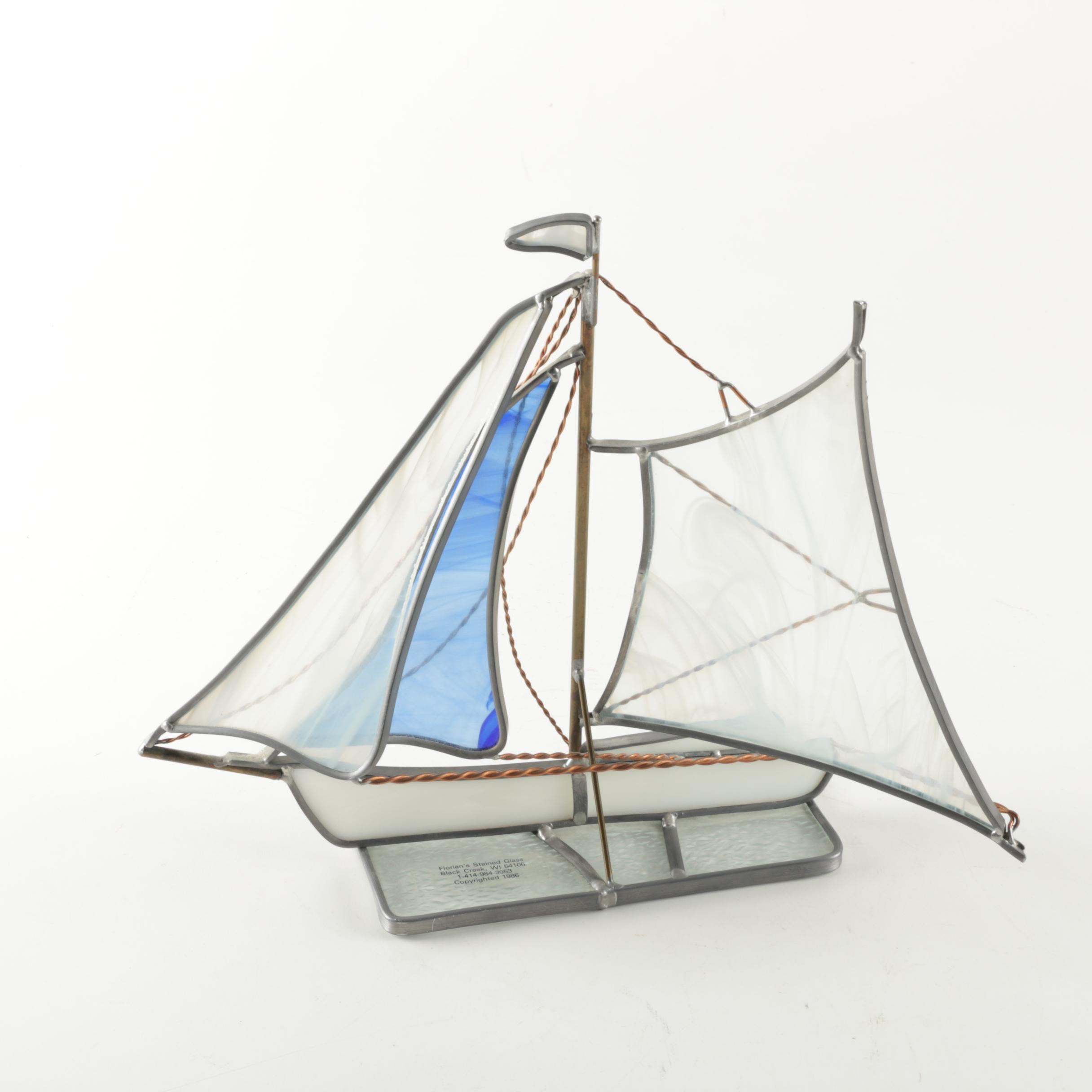 Florian's Stained Glass Sculpture of Sailboat