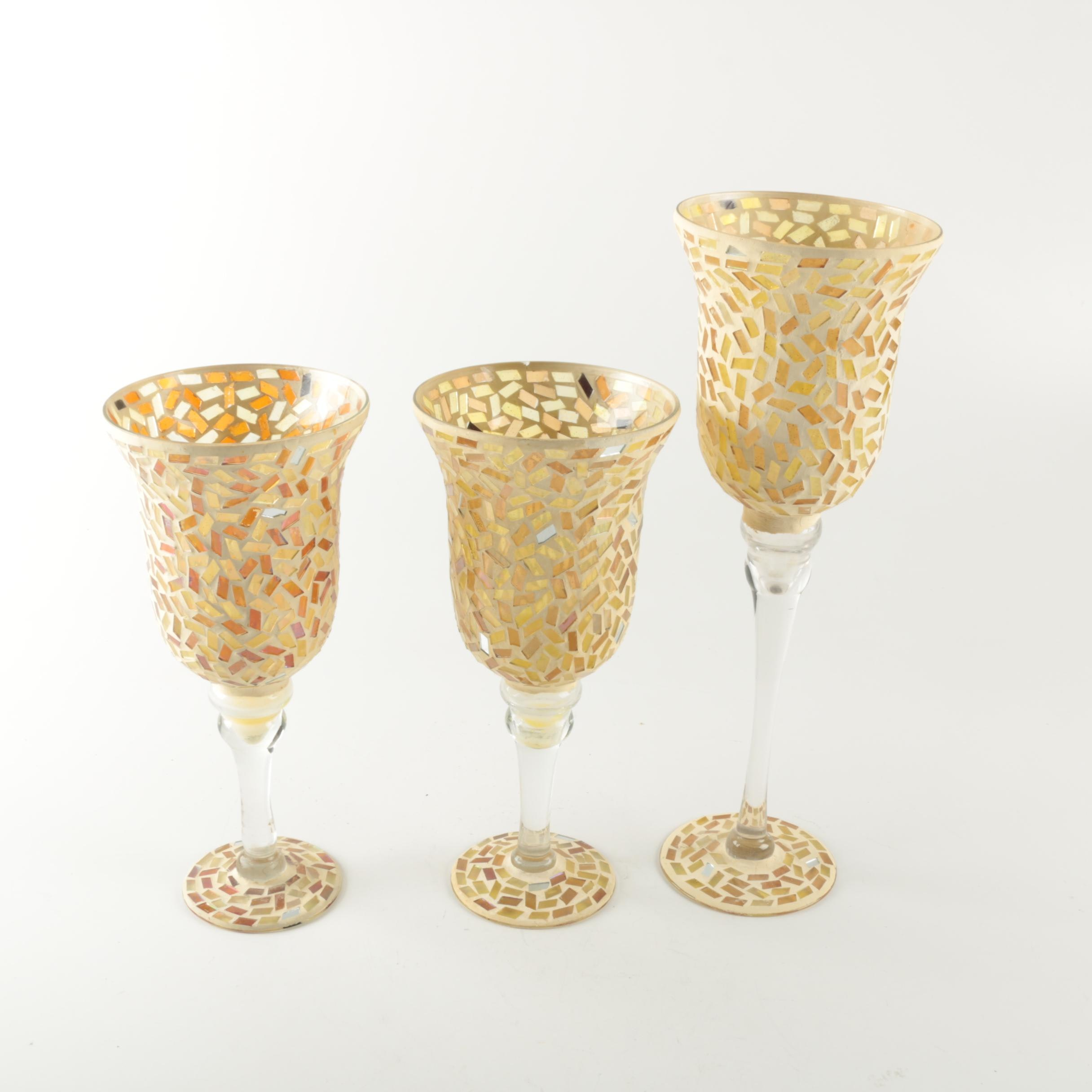 Set of Mosaic Glass Candle Holders