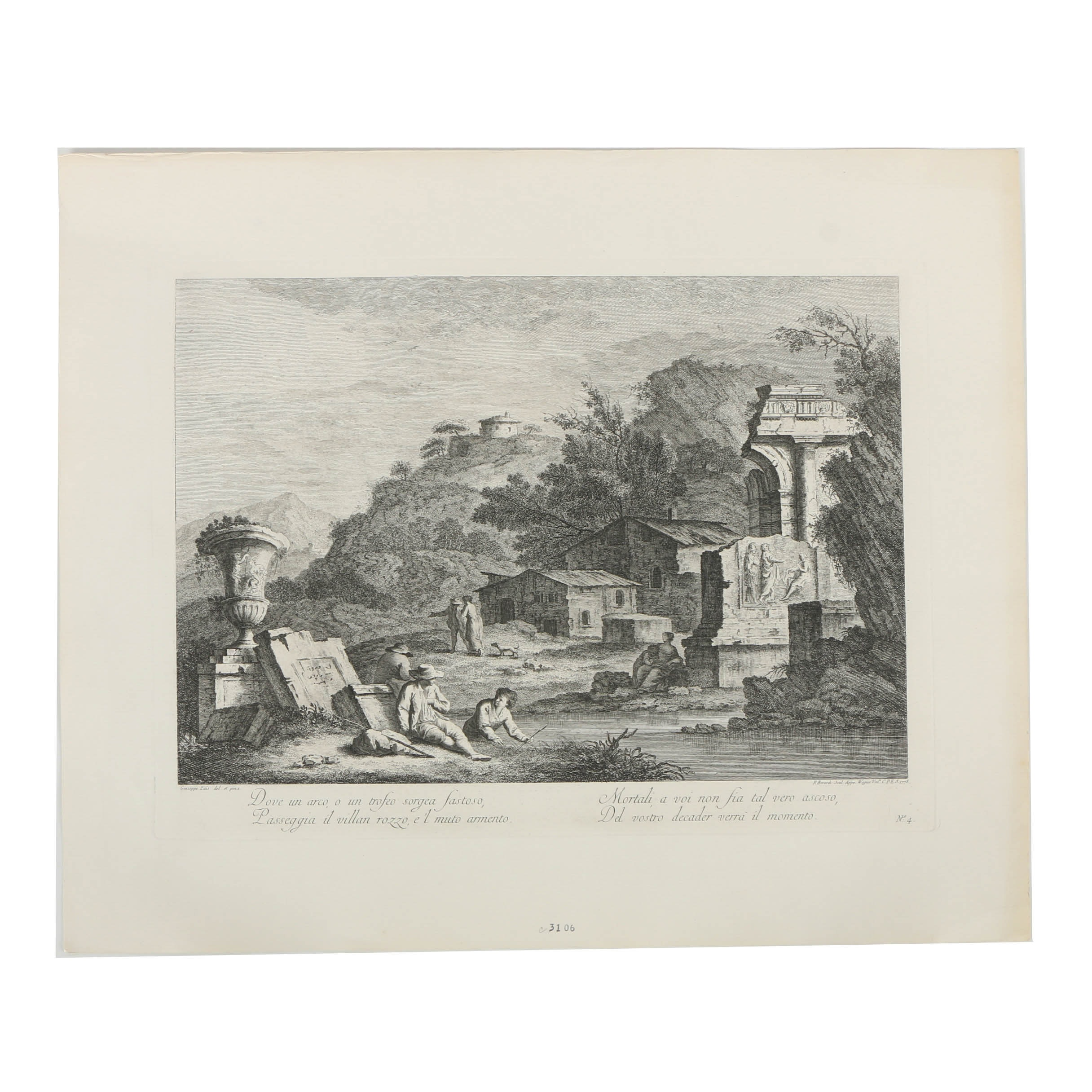 Giuseppe Zais Restrike Engraving on Paper of a Pastoral Landscape
