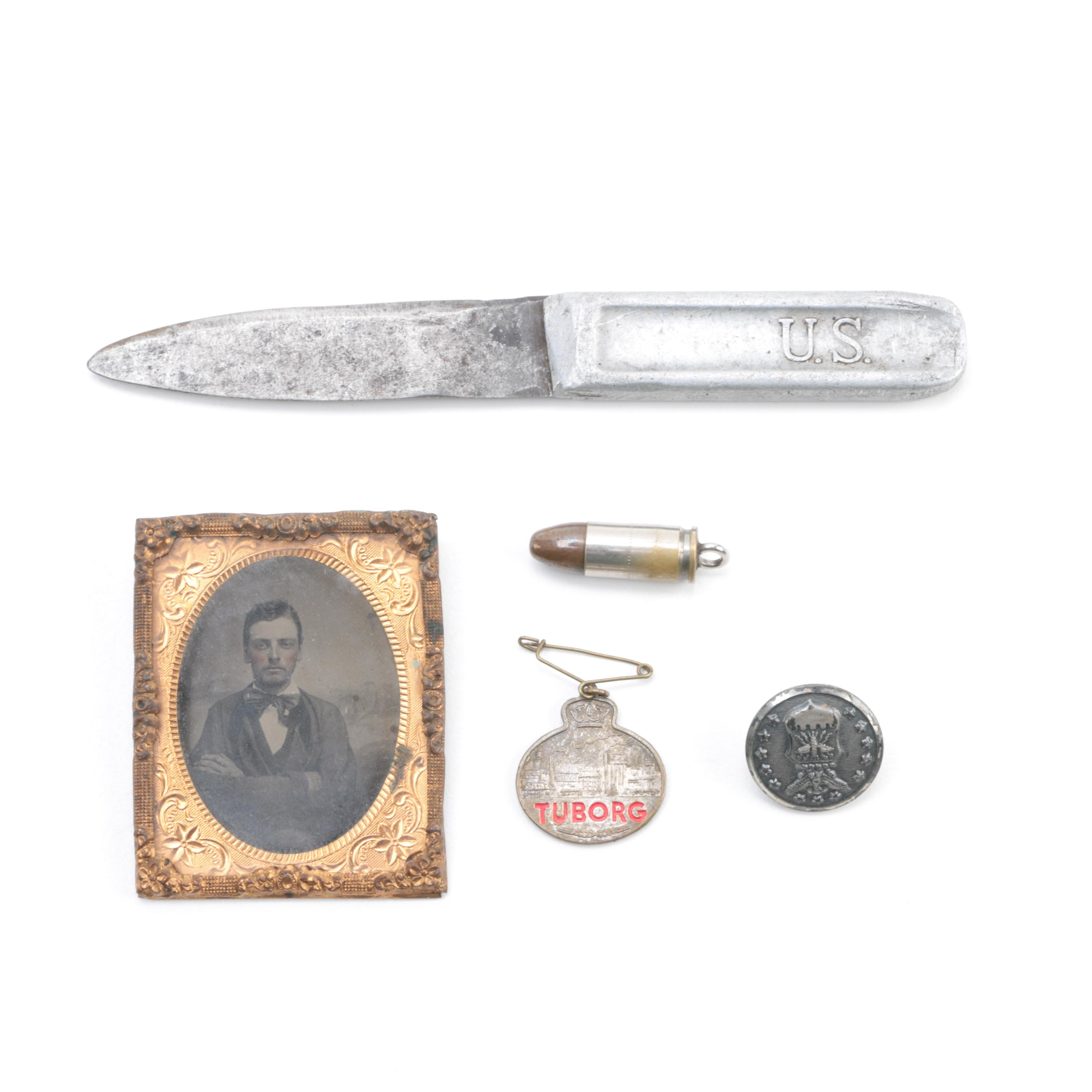 Vintage Military Collectibles and Tintype Portrait