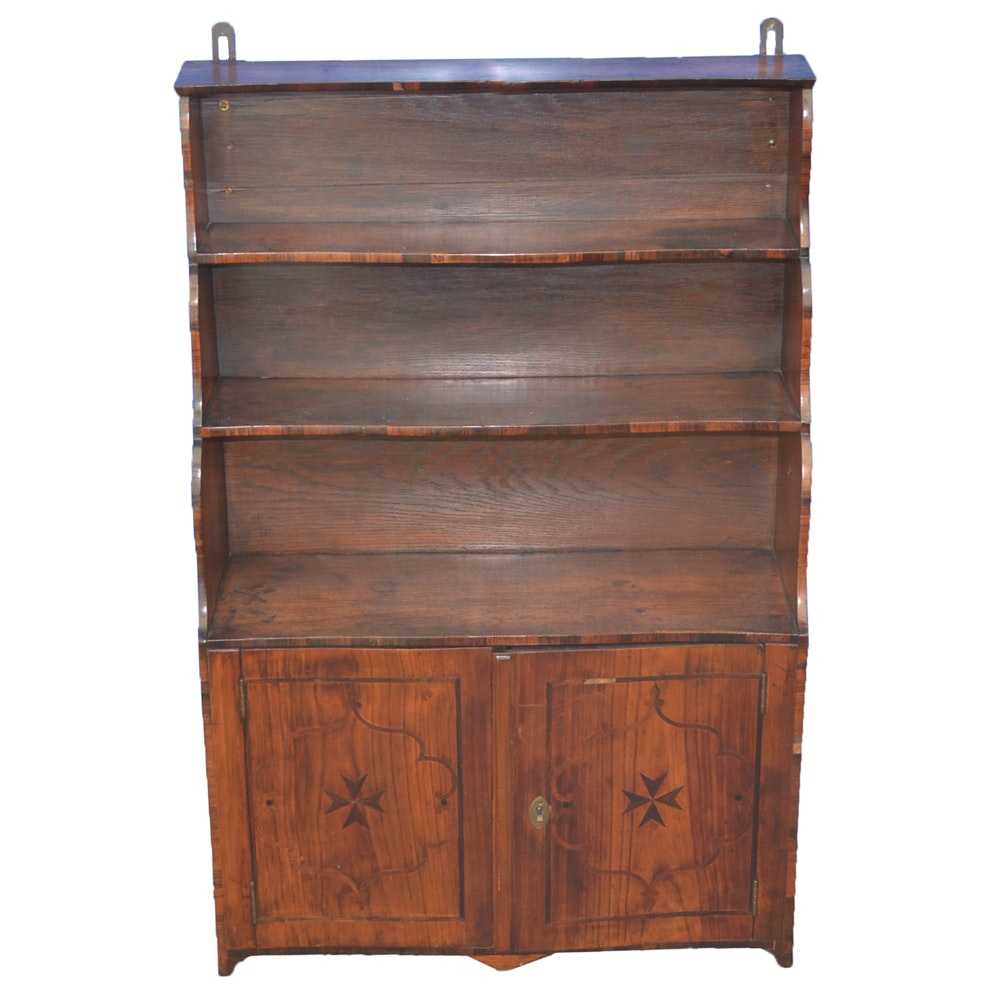 Early 19th-Century Rosewood Inlaid Bookshelf Cabinet