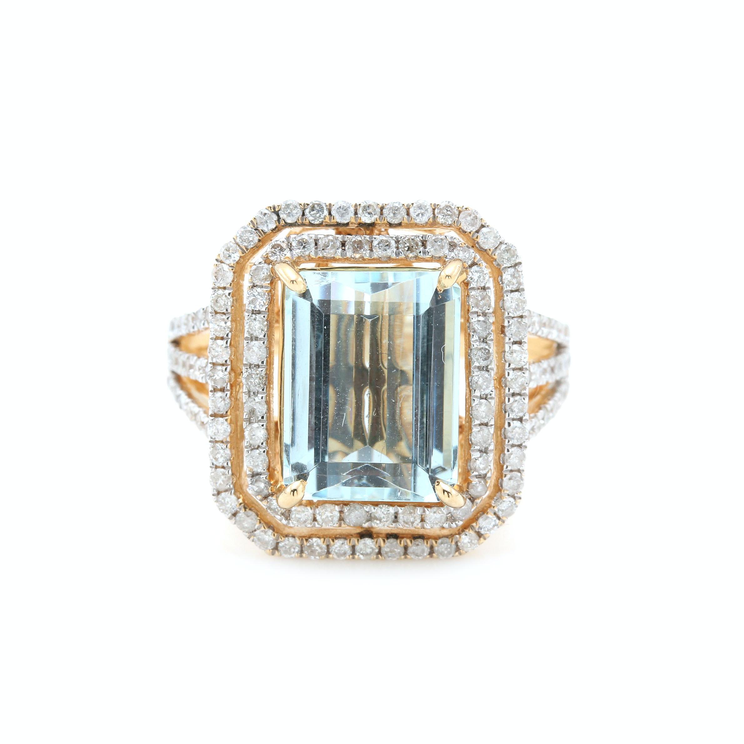 14K Yellow Gold Diamond and 3.88 CT Aquamarine Ring