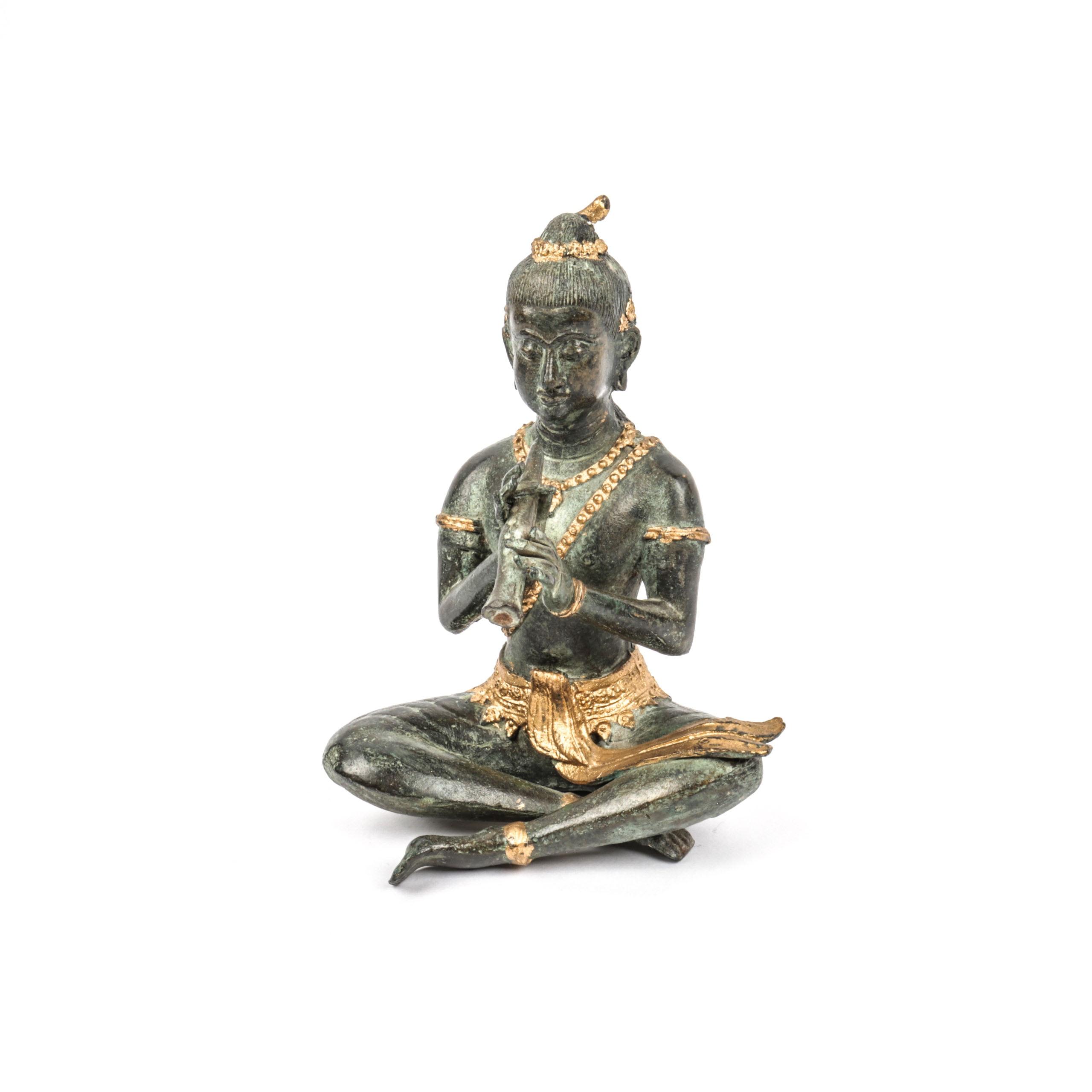 Gilded Bronze Tone Metal Krishna Sculpture