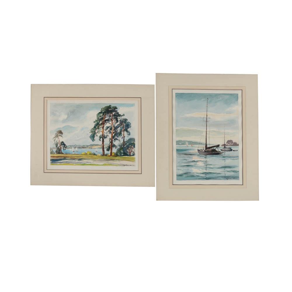 Pair of Watercolor Paintings on Paper of Nautical Scenes