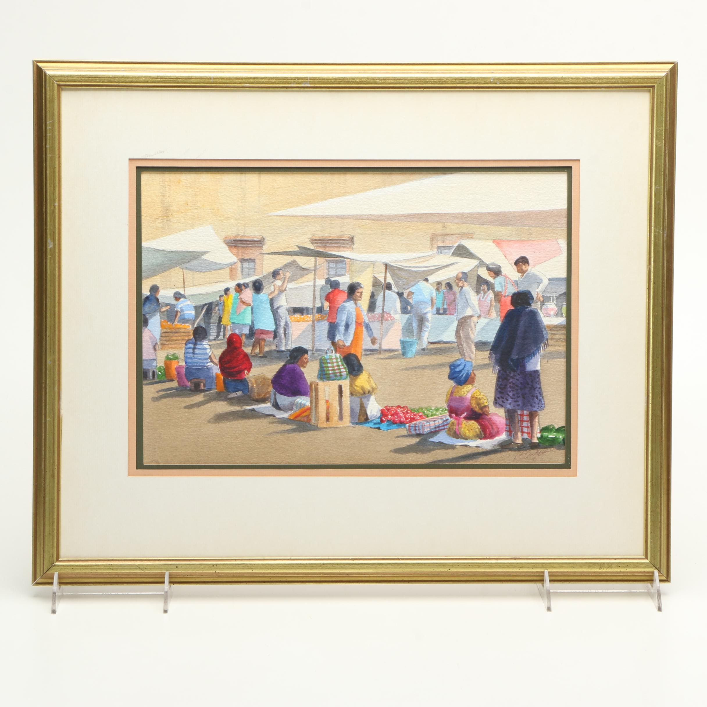 M. Carpenter Watercolor Painting of Market Scene