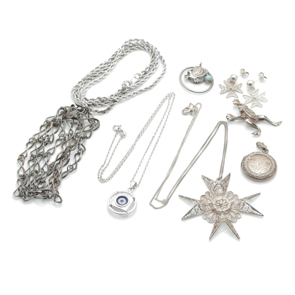 Assortment of Sterling Silver Jewelry Including Turquoise and Cubic Zirconia
