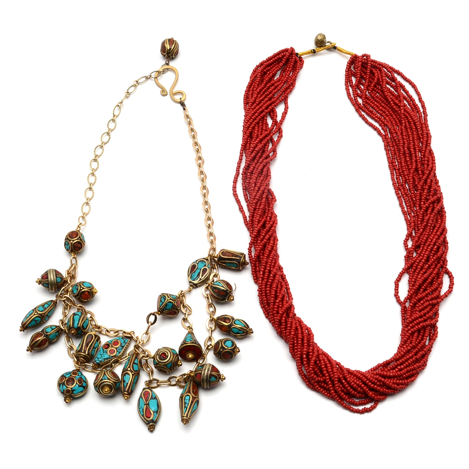 Tibetan Brass and Chip Inlay Bead Necklace and Multi-Strand Red Glass Necklace