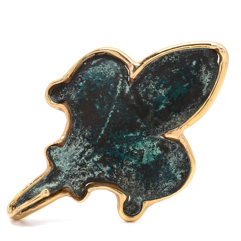 Ancient Roman Copper Horse Harness Fleur De Lis Brooch in 14K Yellow Gold Frame