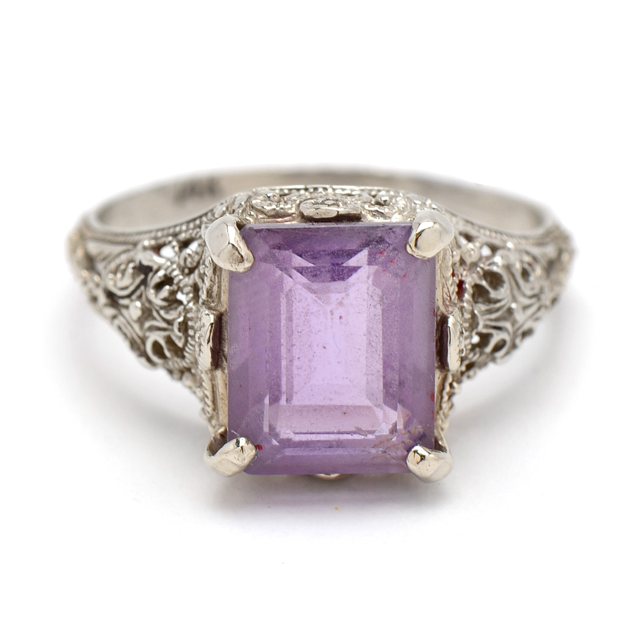 14K White Gold and Amethyst Filigree Ring