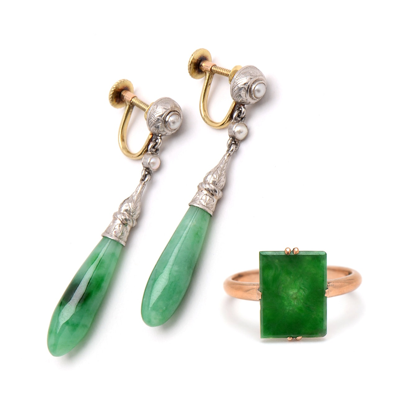 Gold and Platinum Jadeite and Pearl Drop Earrings With 14K Gold Jadeite Ring