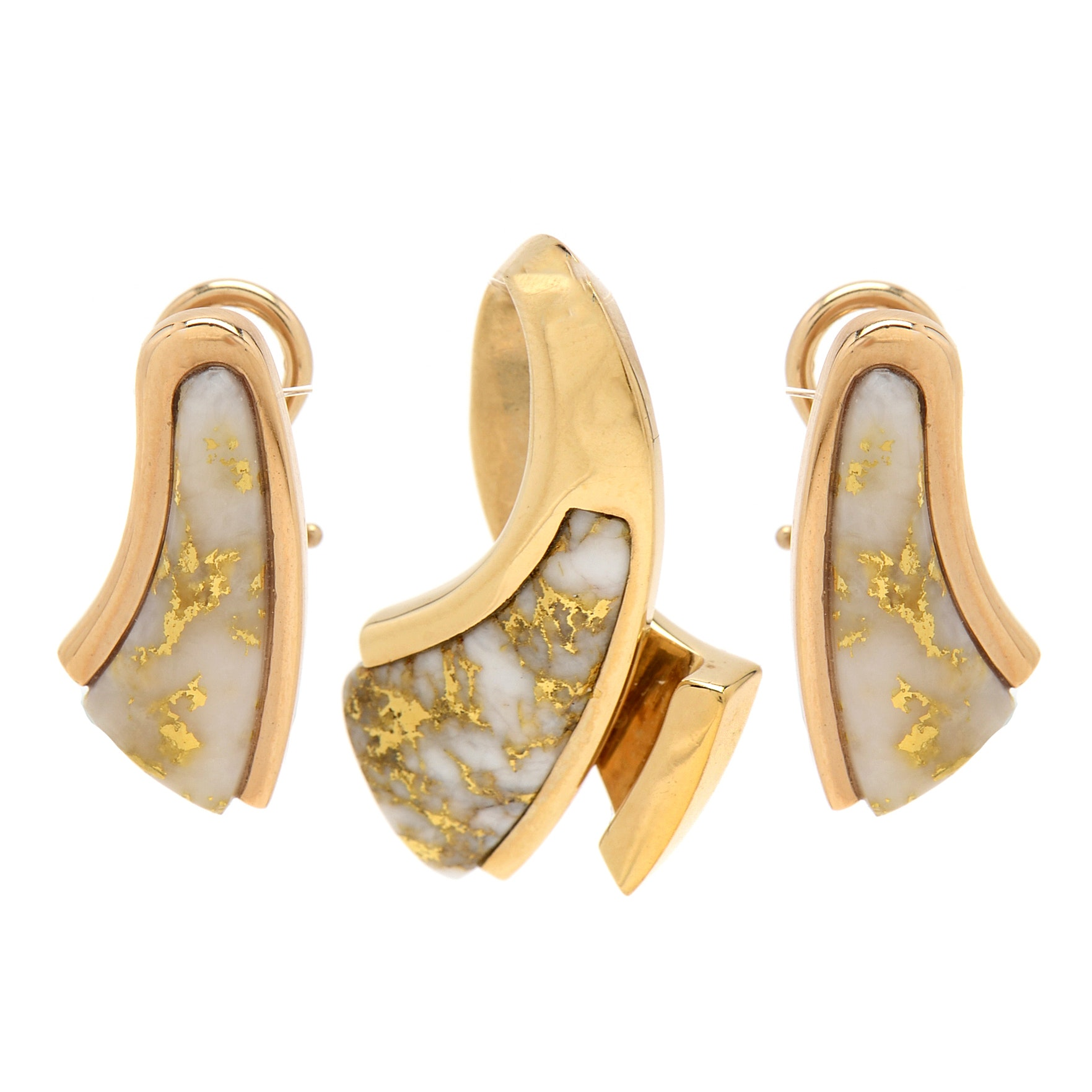 14K Yellow Gold Inlaid Agate Earrings and Pendant