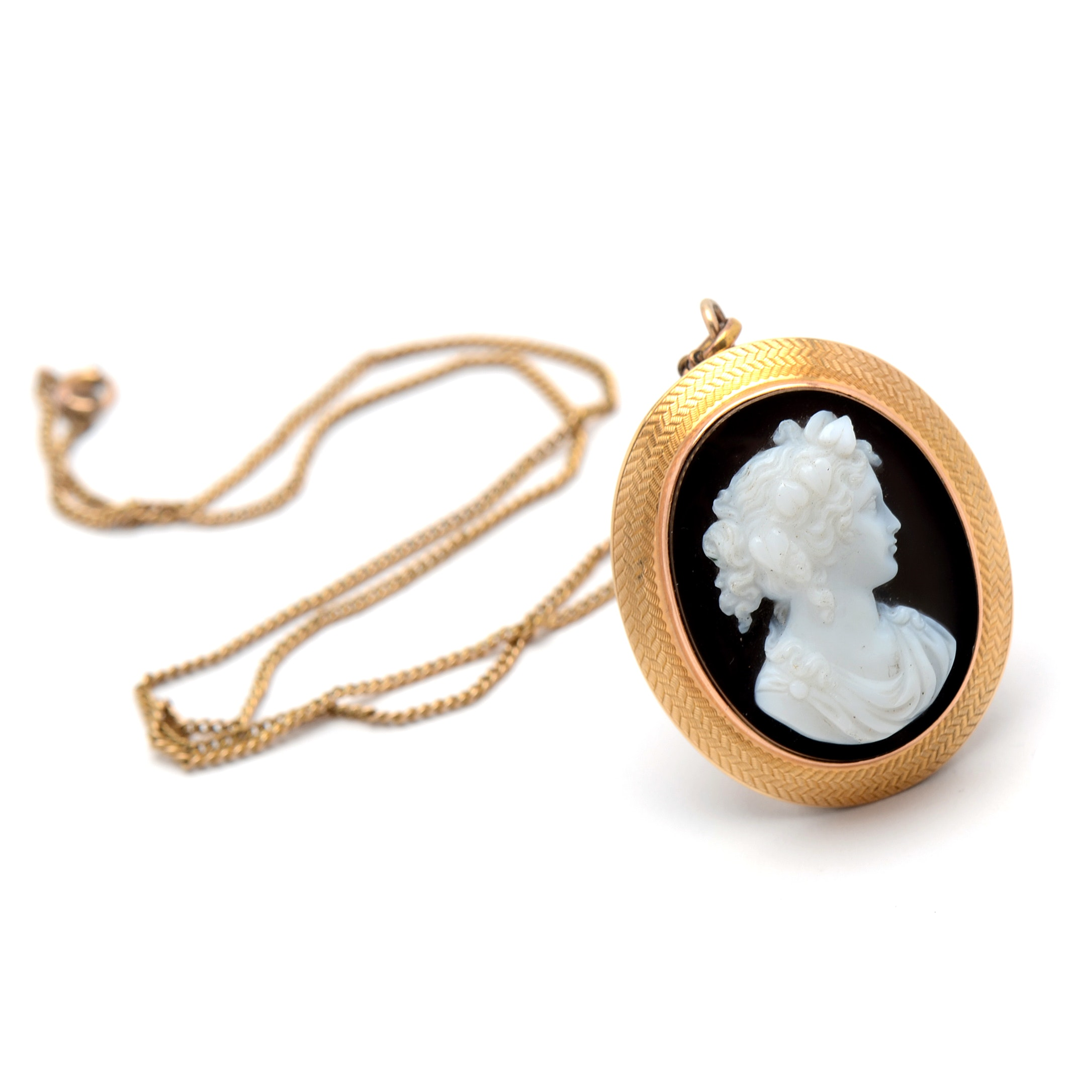14K Yellow Gold Black Onyx Carved Cameo Pendant