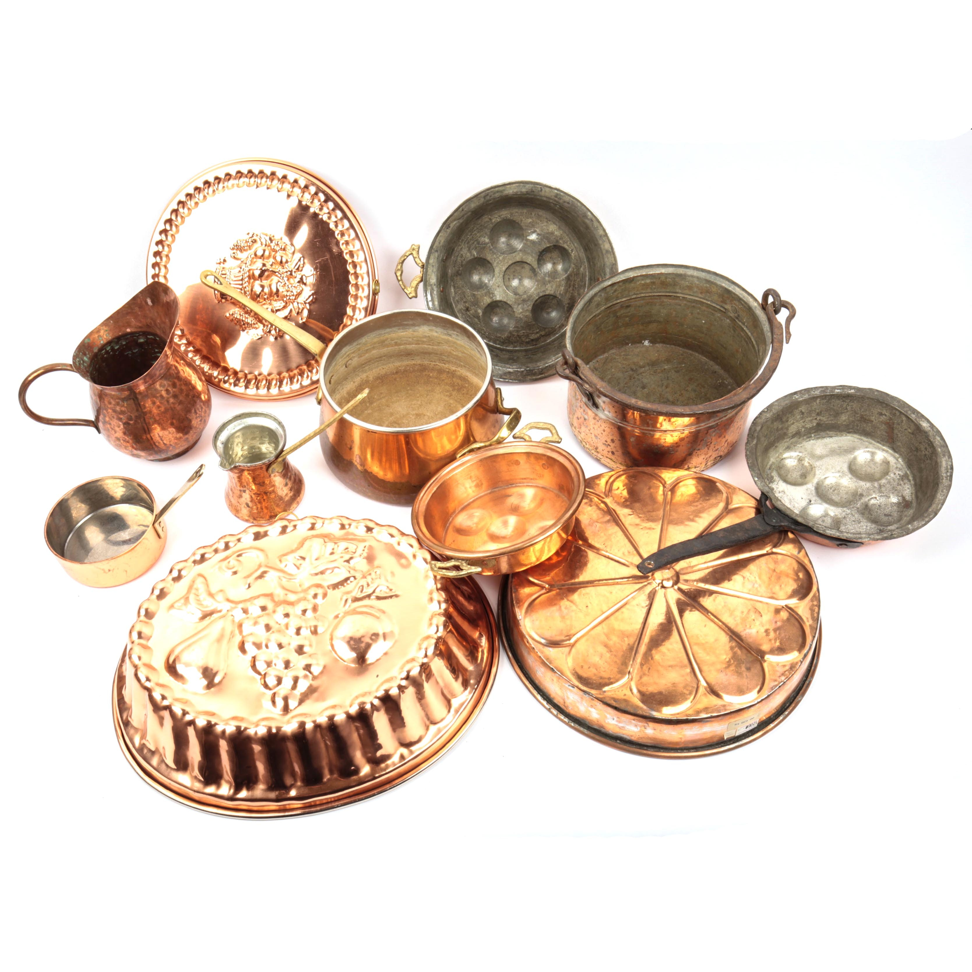 Assortment of Vintage Copper Cookware