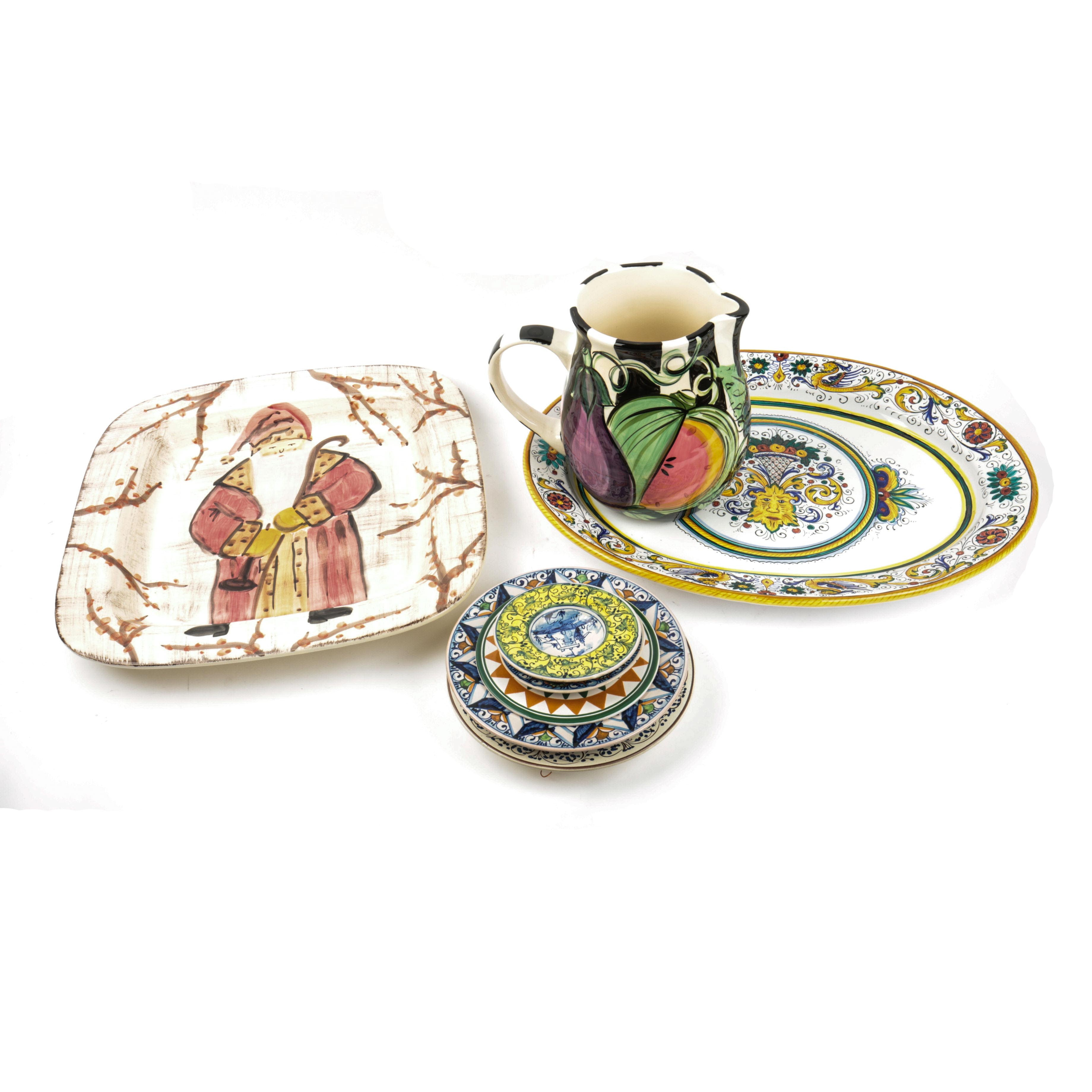 Italian Hand-Painted Ceramic Plates and a Pitcher