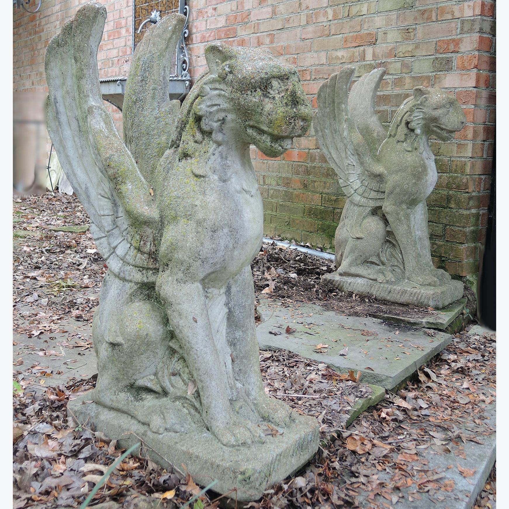 Griffin Winged Lion Garden Statue Pair