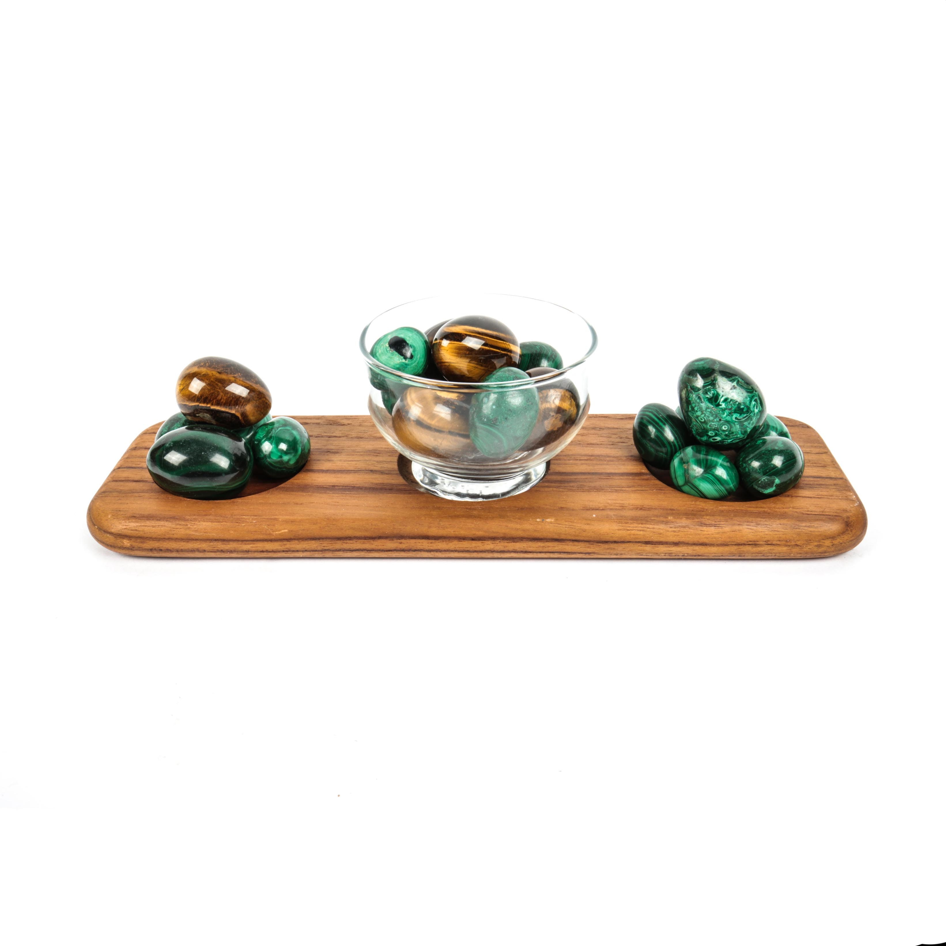 Teak Tray with Bowl and Decorative Stone Eggs
