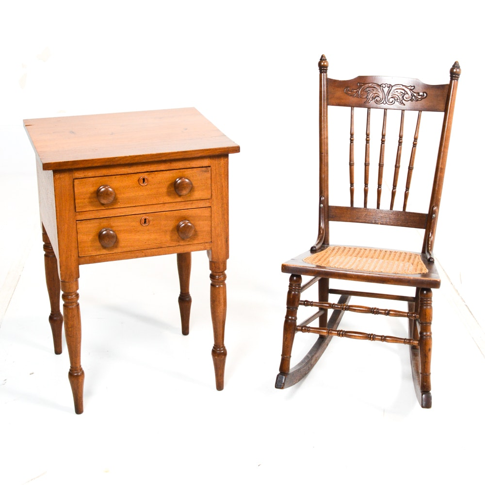 Vintage Bedside Table and Rocking Chair