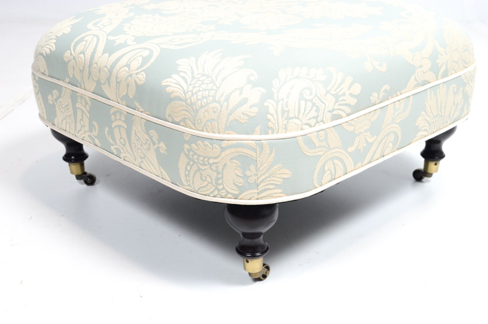 Eastern Accents Damask Print Jacquard Rolling Ottoman Ebth