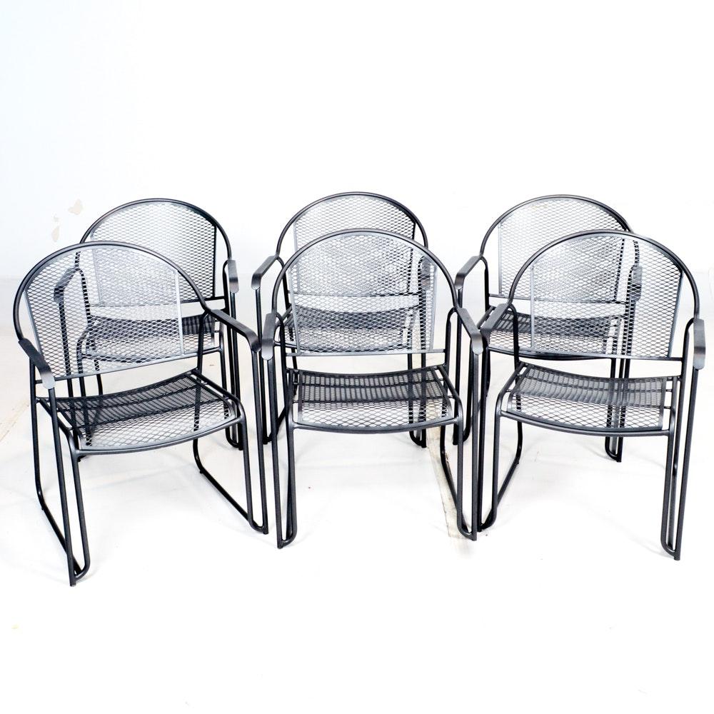 Set of Six Metal Patio Chairs
