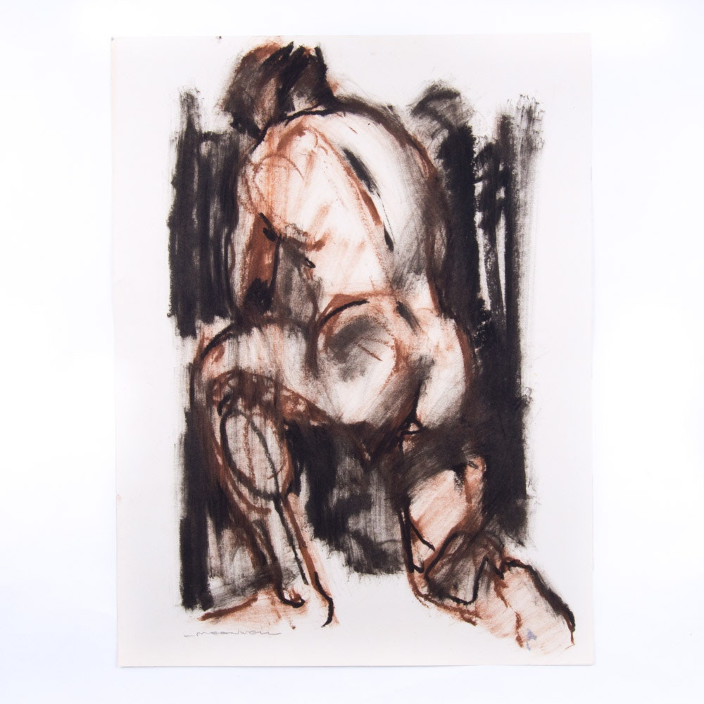 Jack Meanwell Mixed Media on Paper Male Figural