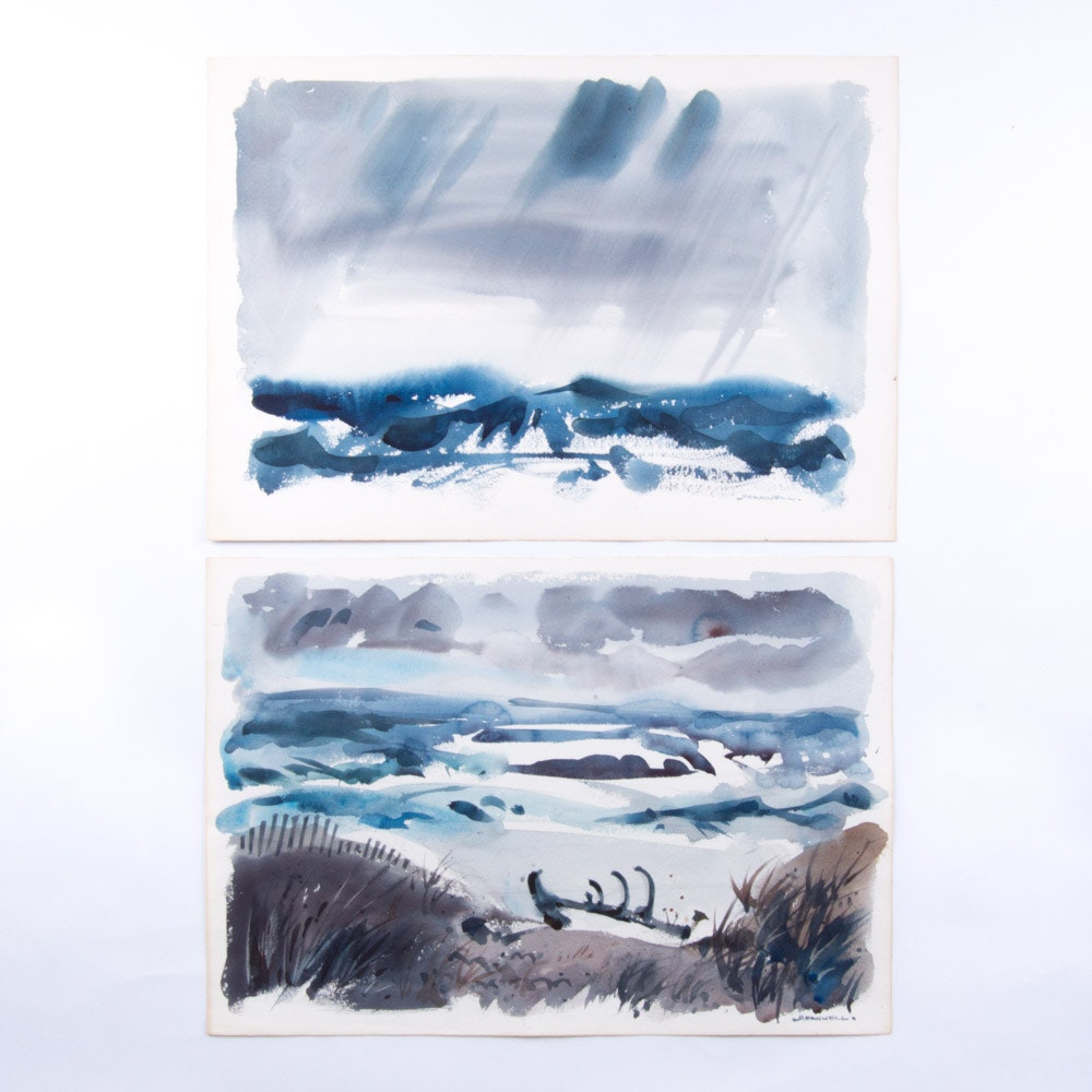Jack Meanwell Watercolor Paintings on Paper Seascape During a Storm