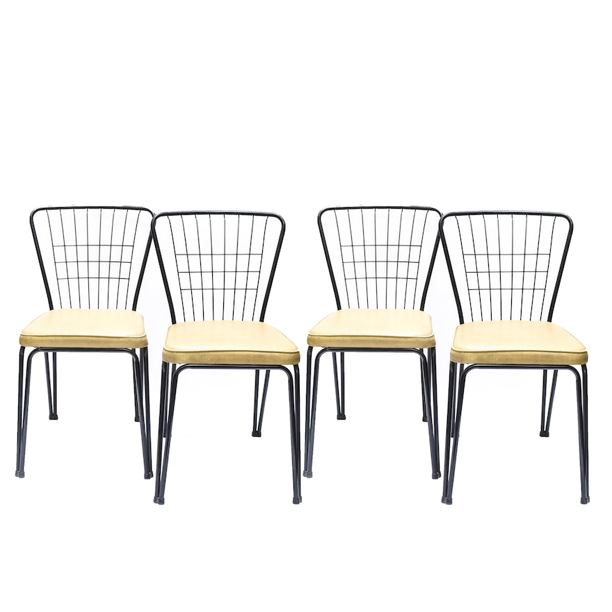 Set Of Four Mid Century Modern Wire Kitchen Chairs By Daystrom