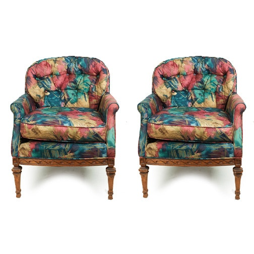 Vintage Upholstered Arm Chairs