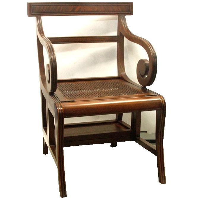 Regency Style Mahogany Metamorphic  Library Chair / Steps