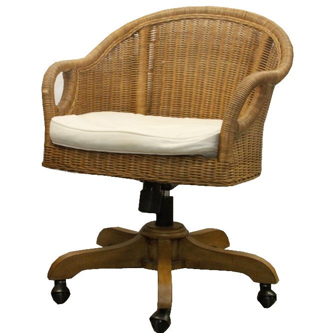 Wicker Office Chair on Casters