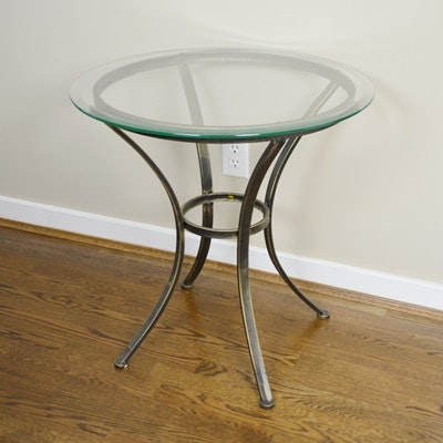 Round Glass Accent Table ...
