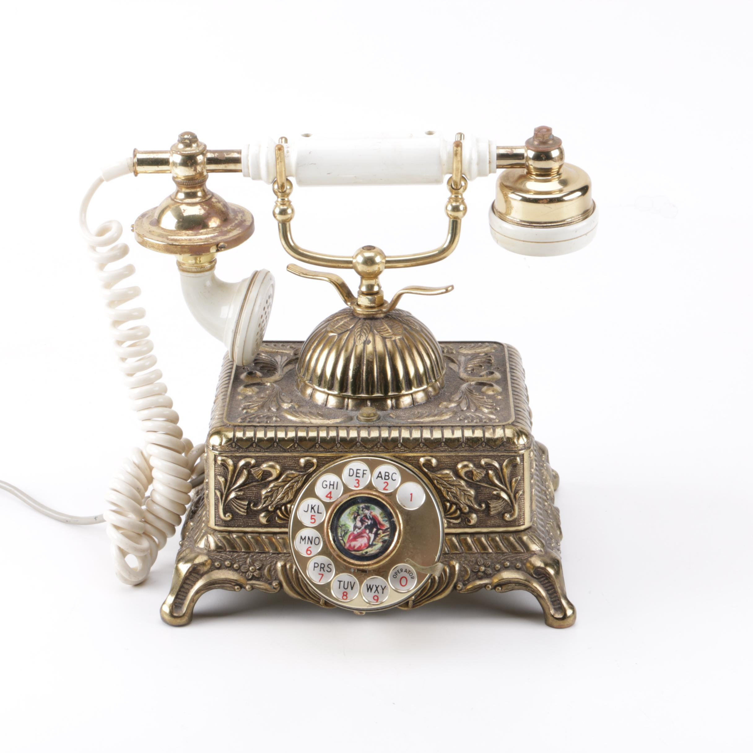 Brass Tone Rotary Telephone