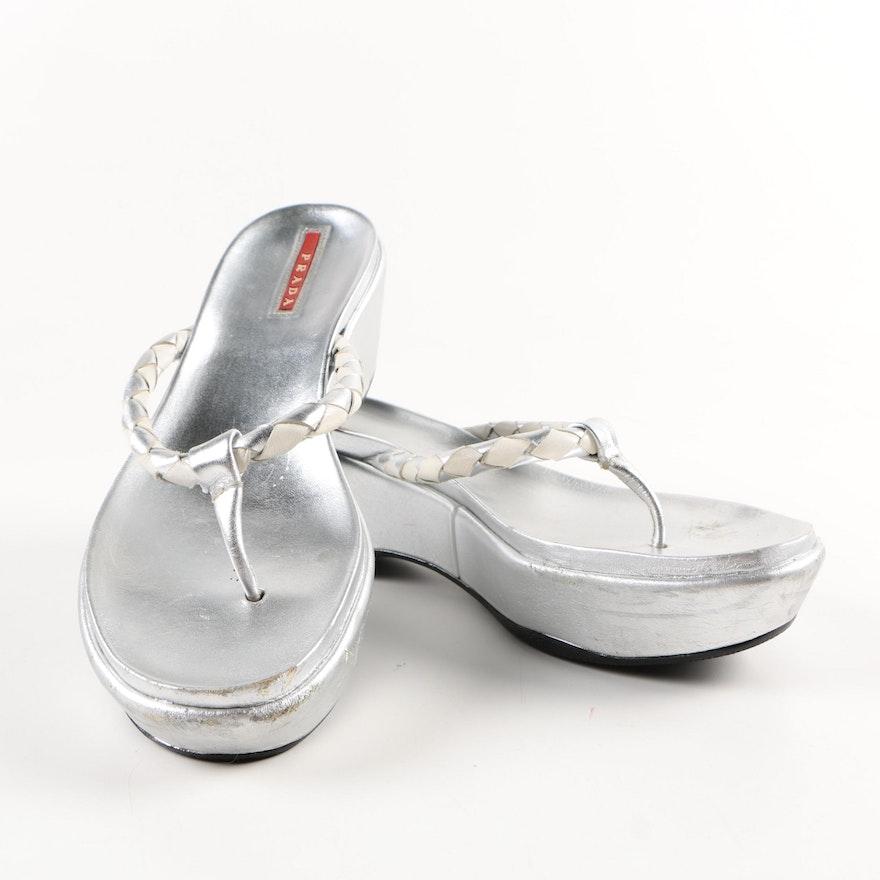 Metallic Prada Silver Wedge Prada Sandals Metallic Wedge Silver Nv0wnm8