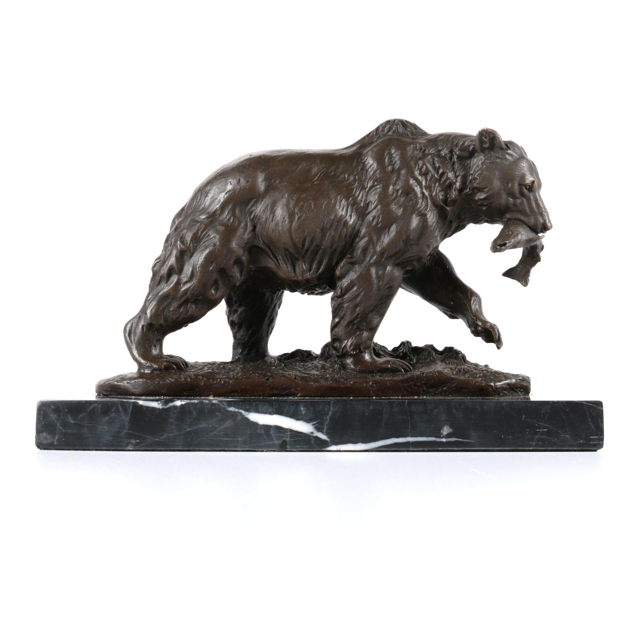 Bronze Grizzly Bear Sculptural Decor