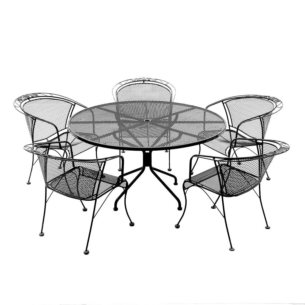 Black Iron Patio Chairs and Side Table EBTH