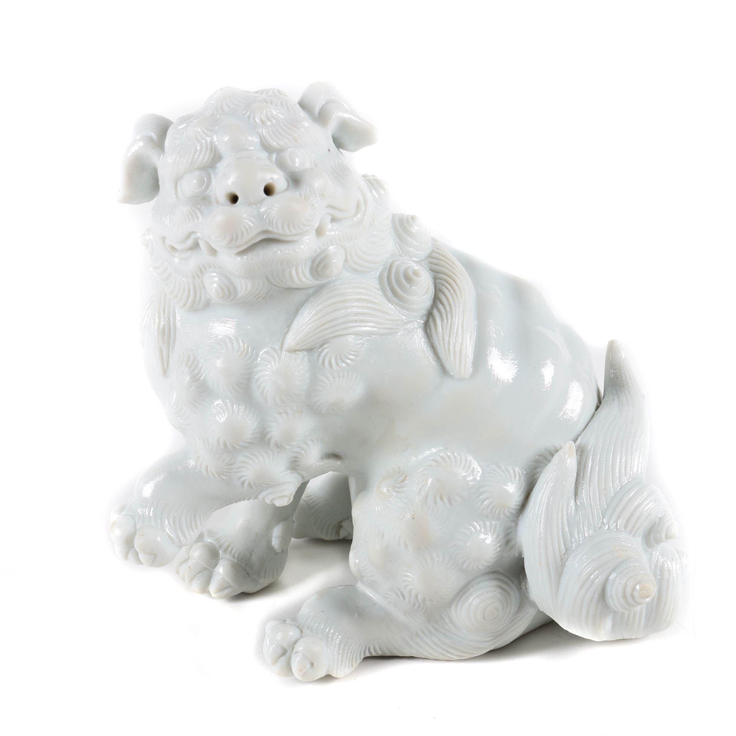 White Ceramic Chinese Guardian Lion Figurine