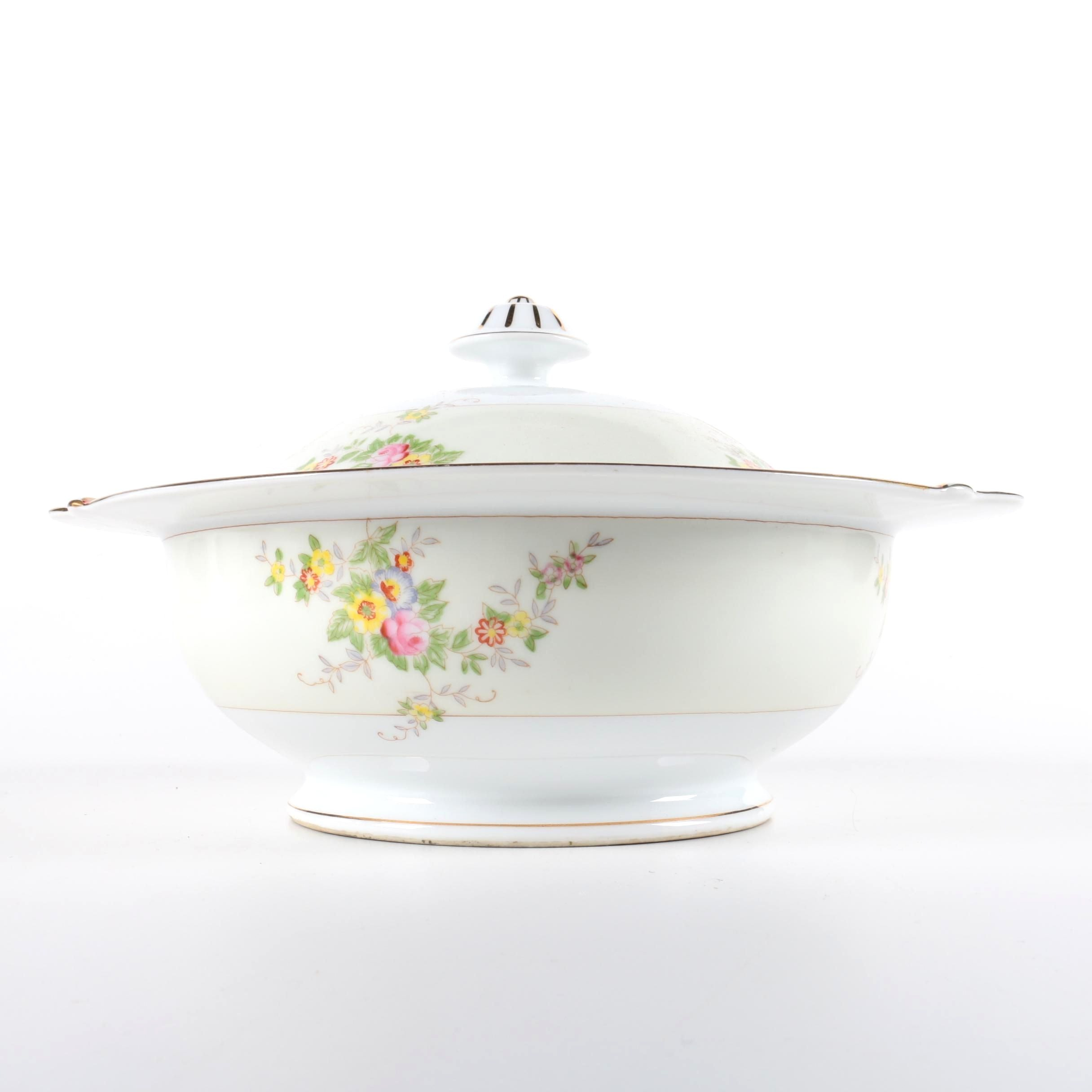 Hand-Painted Covered Serving Bowl