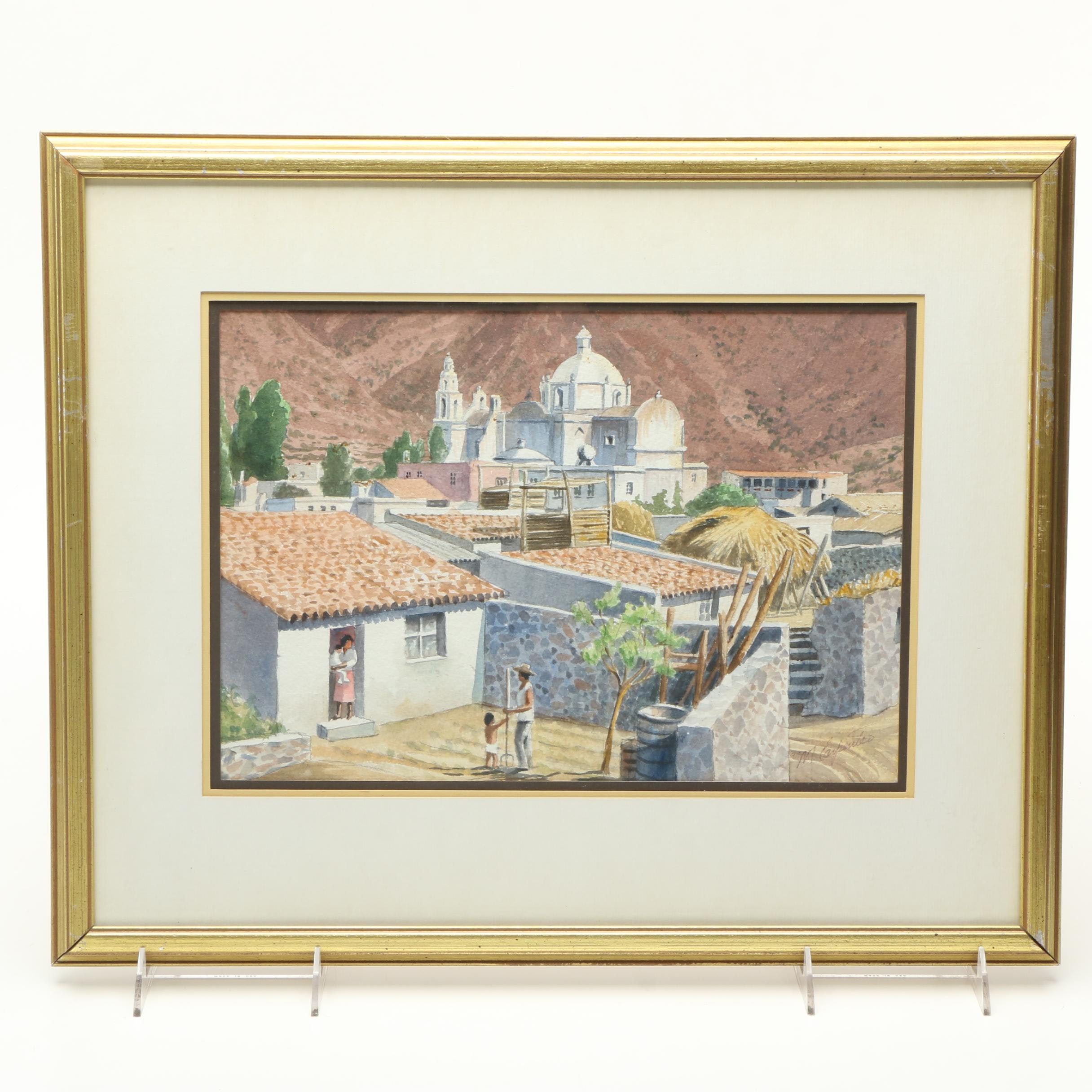 M. Carpenter Watercolor Painting on Paper of Village