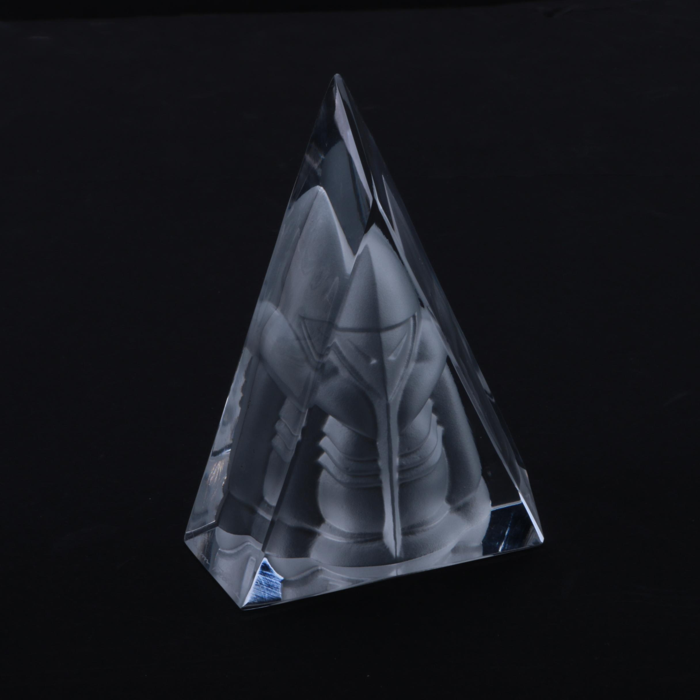 Daum France Crystal Triangle Figurine
