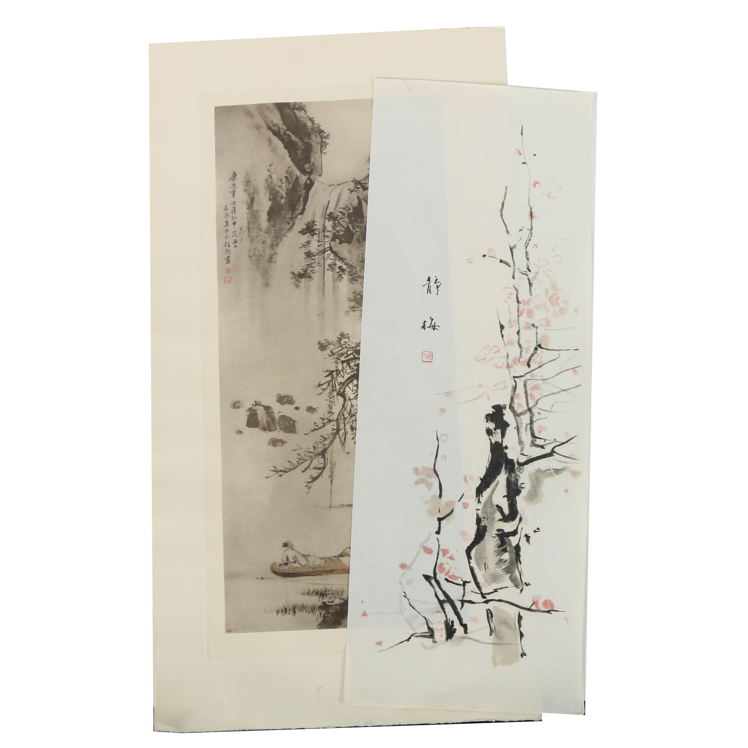 Pair of Woodblock and Lithograph Prints on Woven Paper of East Asian Scenes