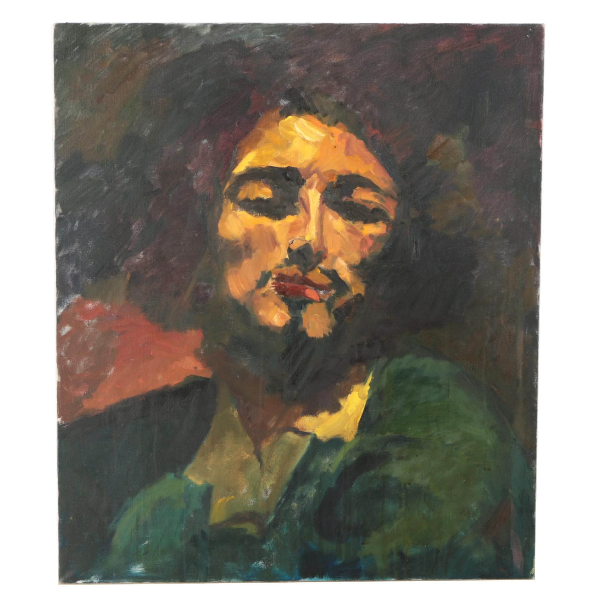 """Margery Kramer Oil After Gustave Courbet's """"Self Portrait with Pipe"""""""
