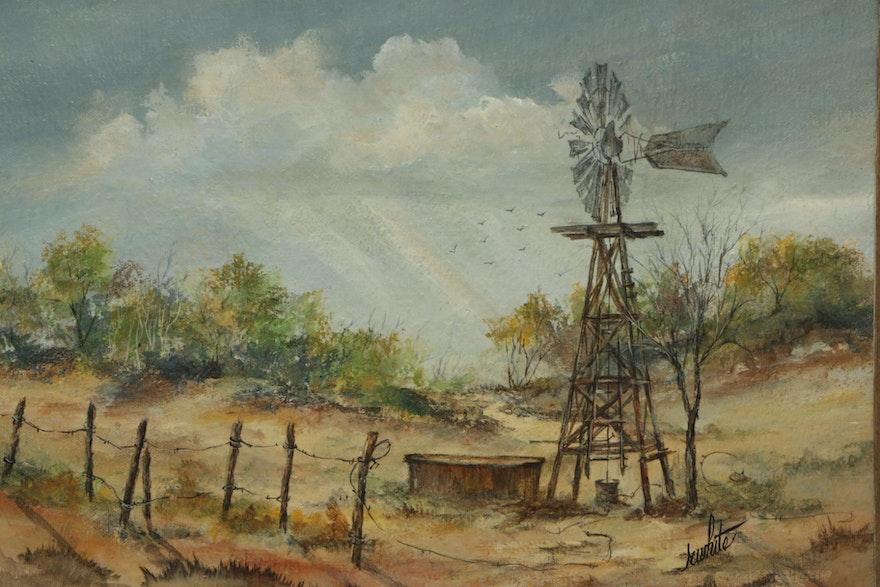 Landscape Oil Painting Signed Fc