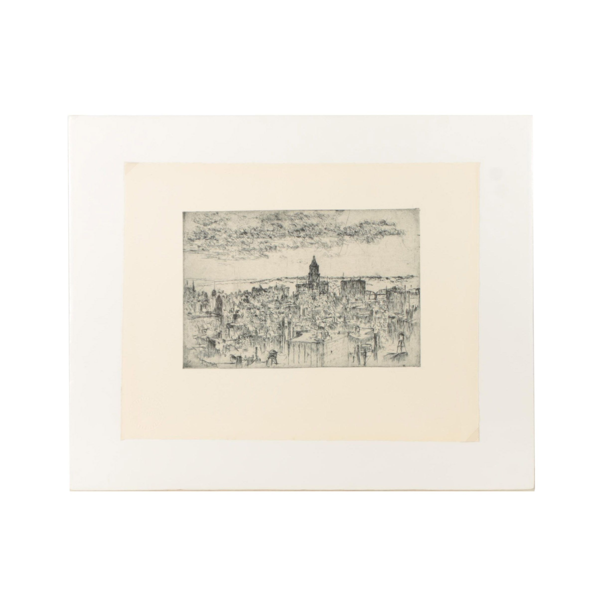 Edward T. Hurley Drypoint Etching on Paper Cityscape