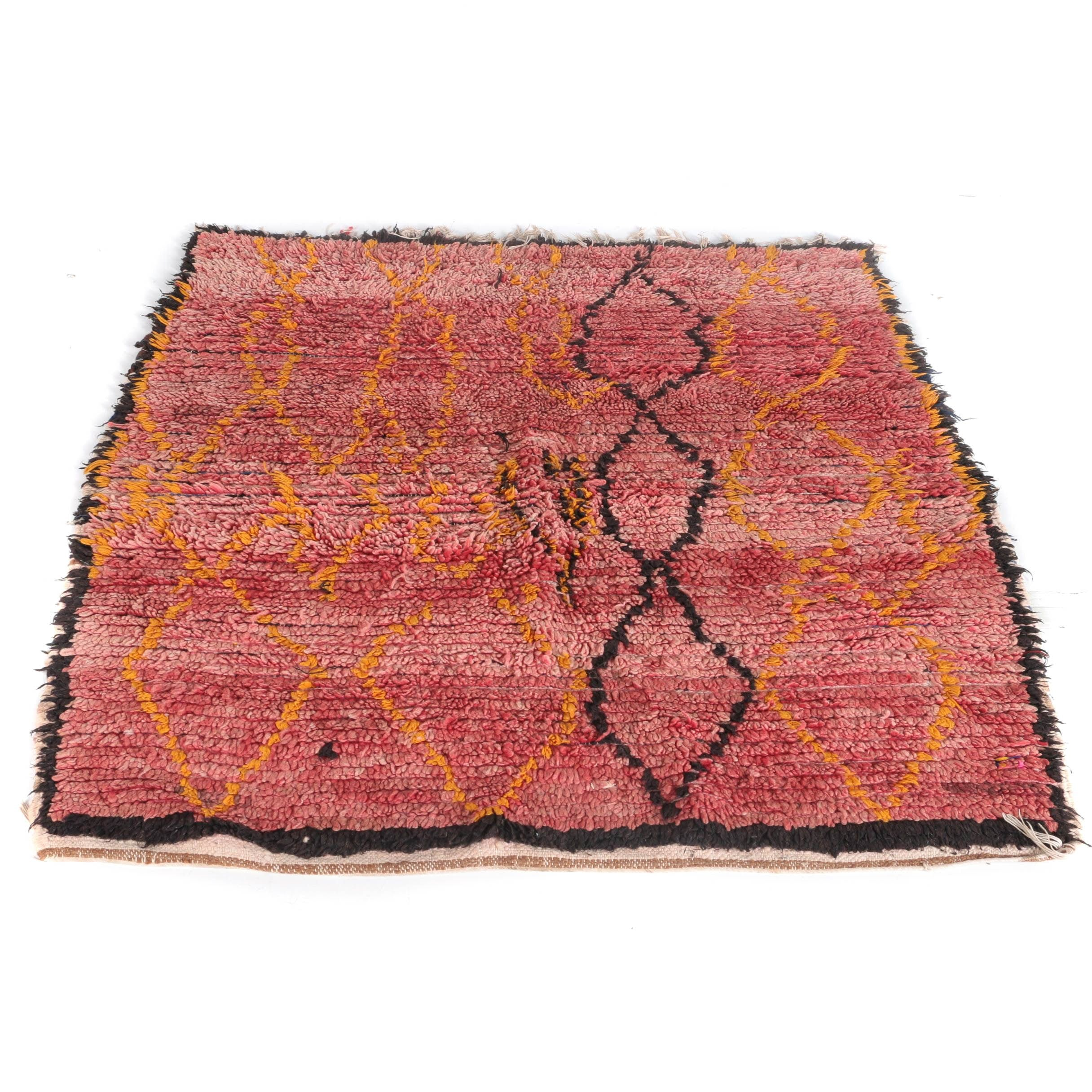 Hand-Knotted Moroccan Azilal Wool Area Rug