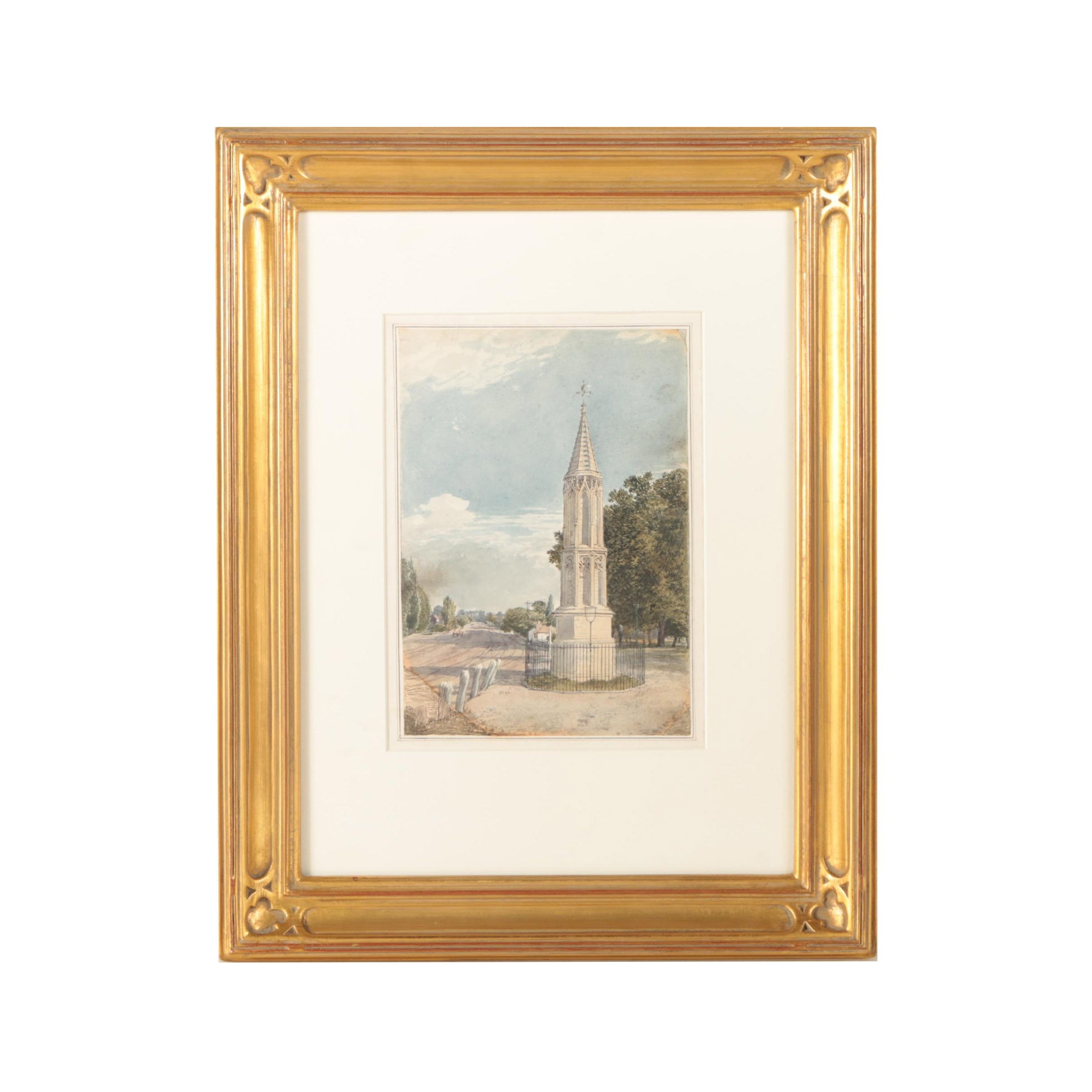 "Attributed to George Shepherd Watercolor Painting ""Tottenham High Cross..."""