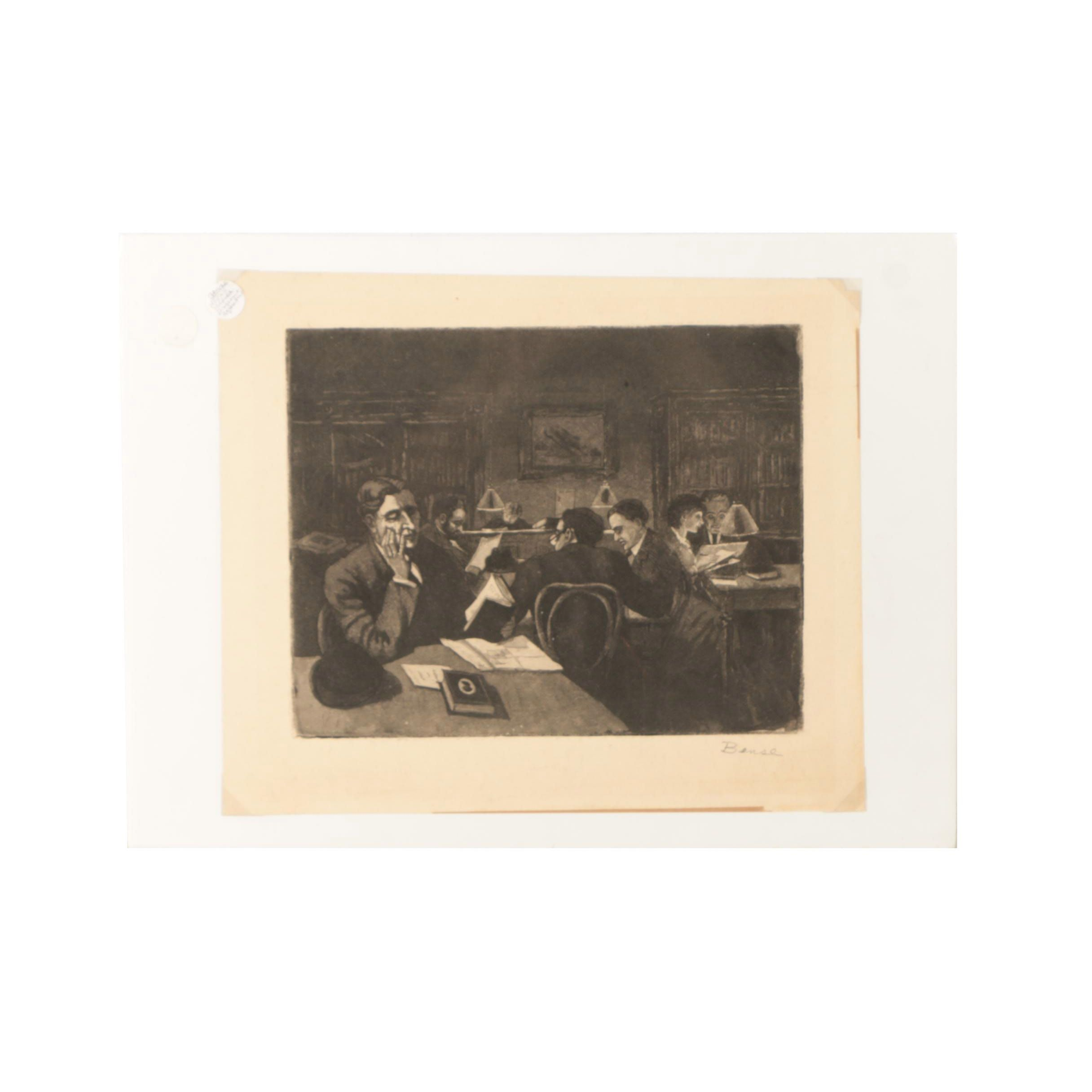Bense Aquatint Etching on Paper of a Library Scene