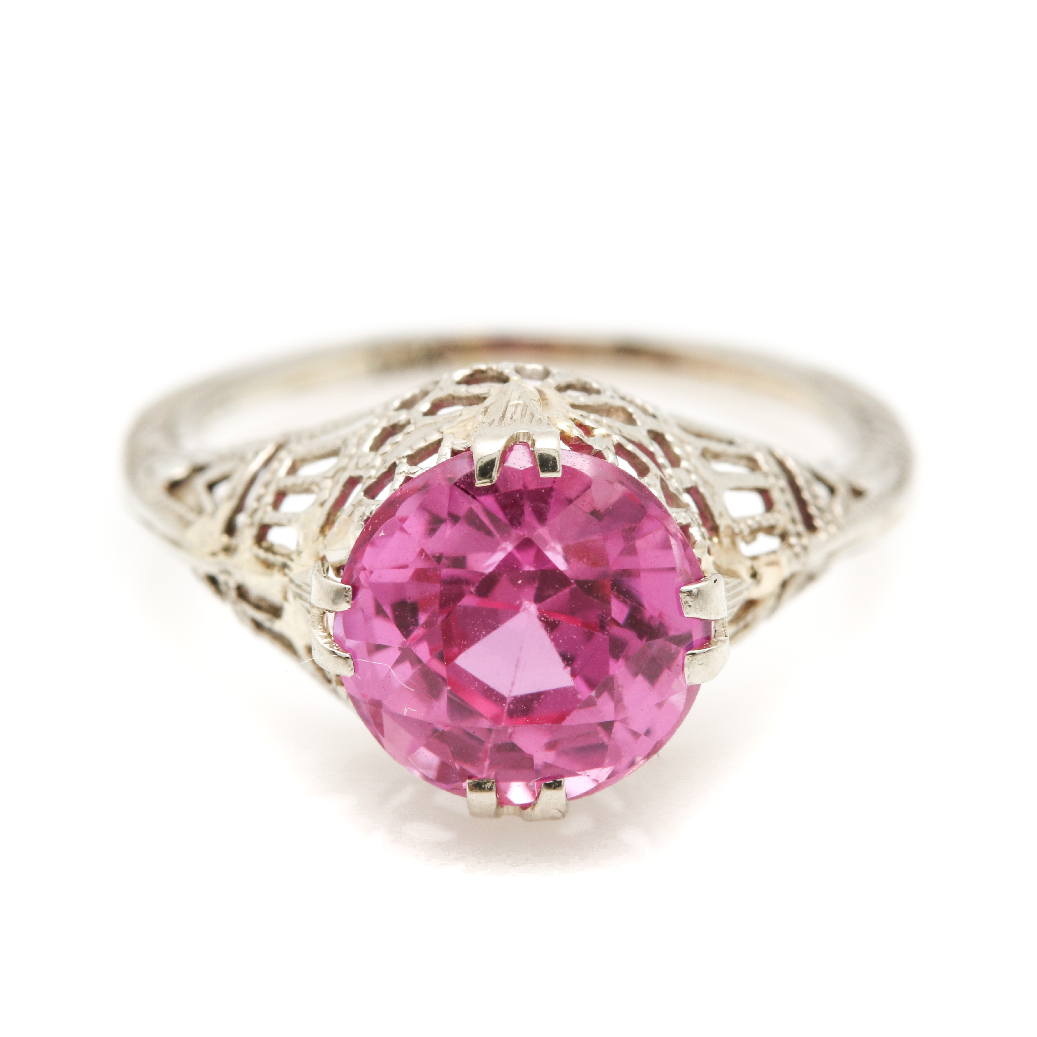 14K White Gold and Pink Sapphire Ring