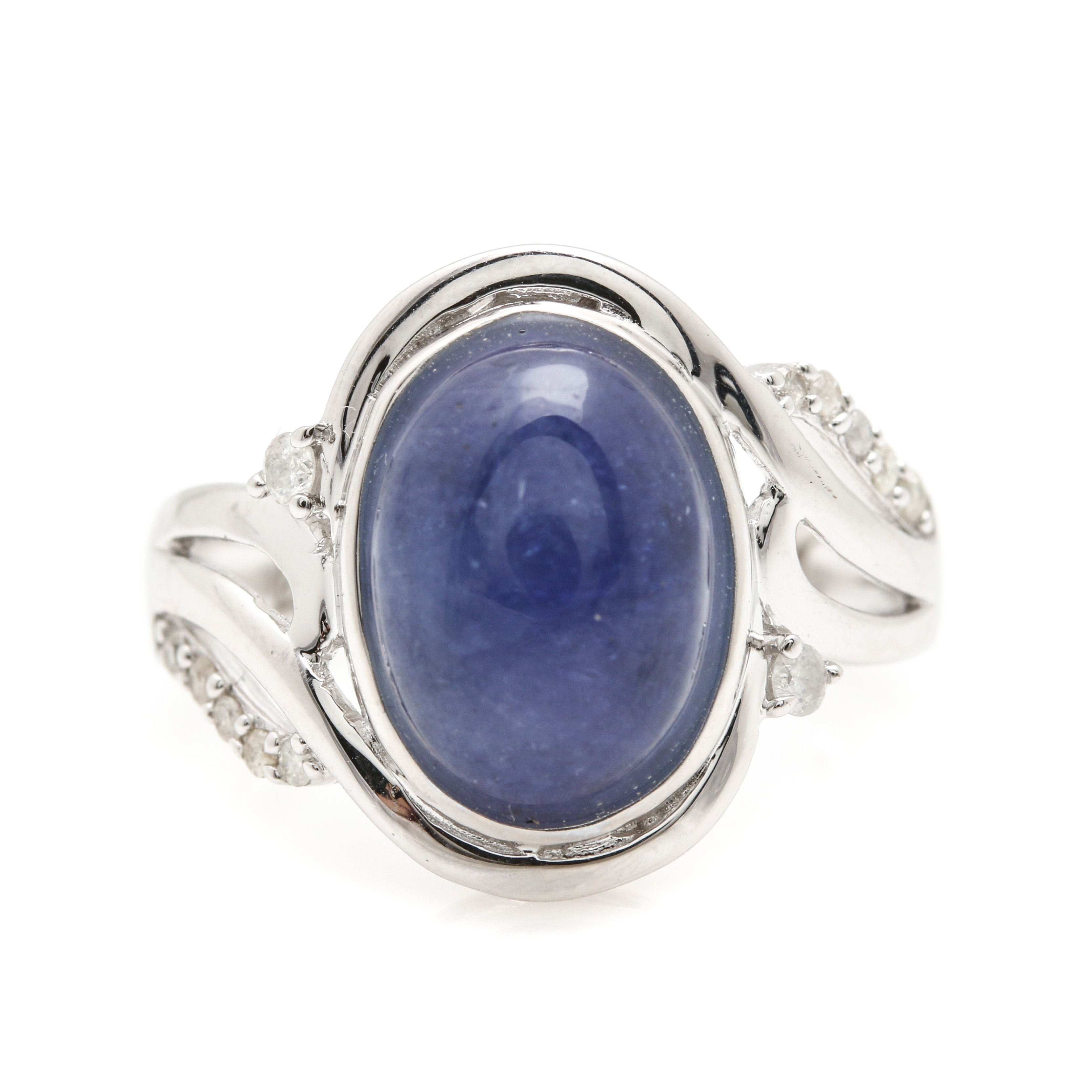 Sterling Silver 5.21 CT Tanzanite and Diamond Ring