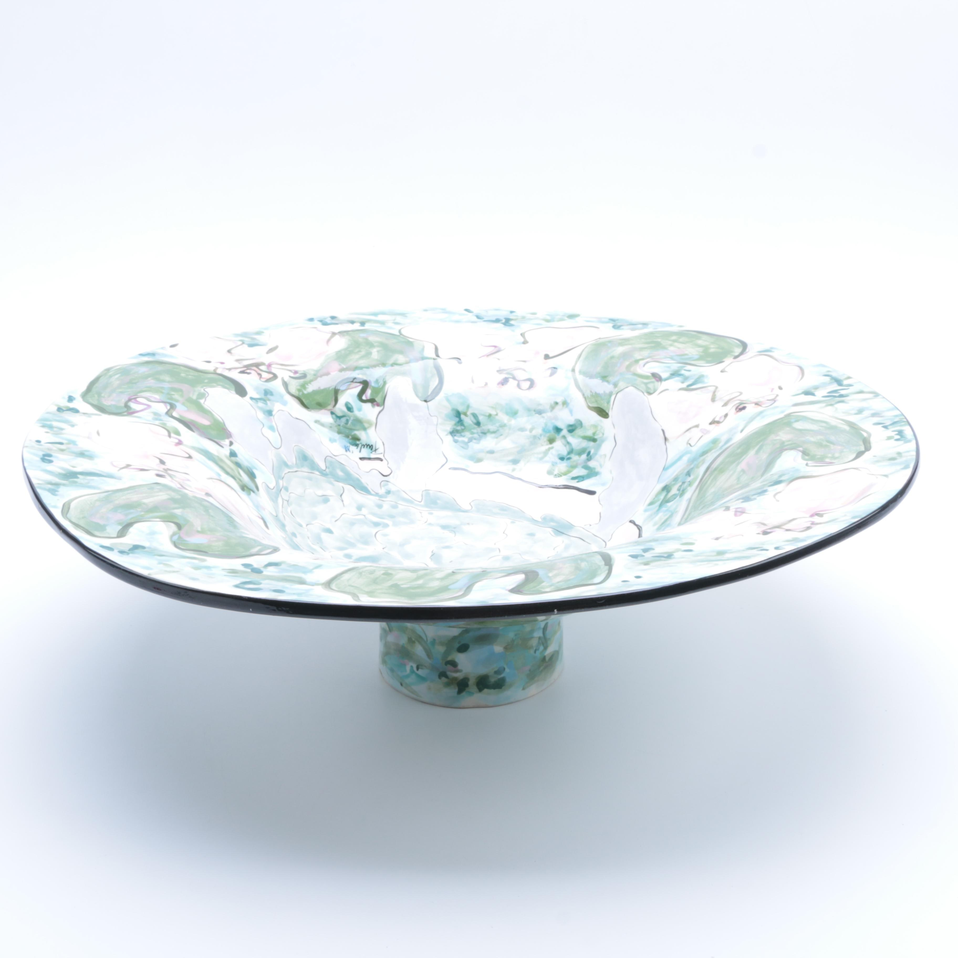 Hand Thrown Hand-Painted Porcelain Centerpiece Bowl